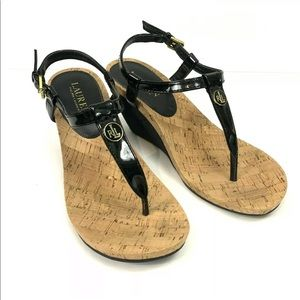Ralph Lauren Black Ankle Strap Thong Wedge Sandals